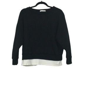 Aunt Marie's Faux Trim Pullover Sweatshirt Black